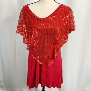 Leo rosi red sequin blouse xl